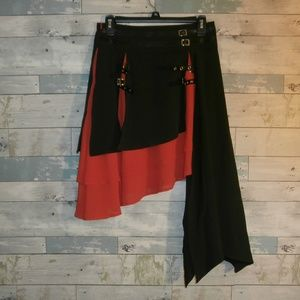 M Dressfo Black & Red Skirt with Buckles - C24